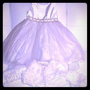 Toddler girls white flower girl dress